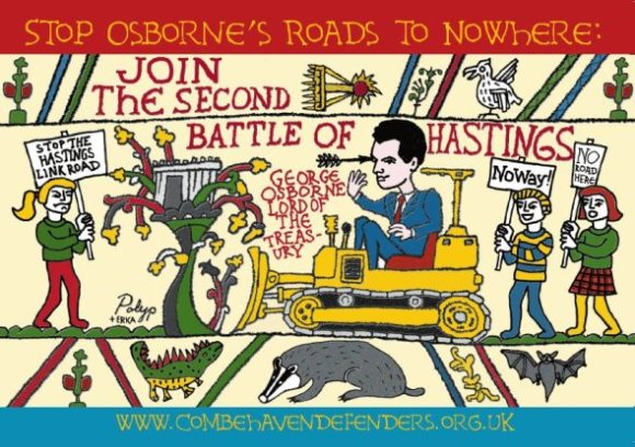 Spoof Bayeux Tapestry graphic showing George Osborne on a digger